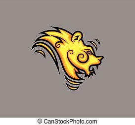Retro Tribal Lion Tattoo Design
