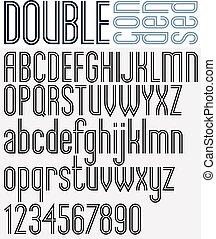 Retro triple line stripes font, light condensed version,...