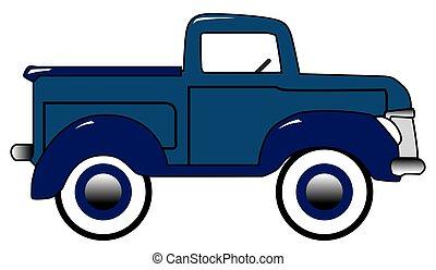 Retro Truck Decoration - A shiny blue souvenir replica of a...