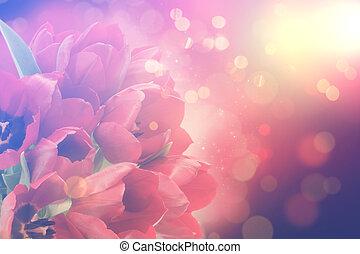 retro, tulips, com, bokeh, luzes