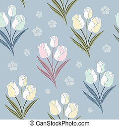 retro tulips seamless pattern background