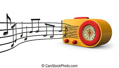 Retro Tunes - A Retro 1950s radio with music notes coming ...