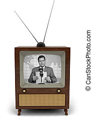 Retro TV - 1950\'s television with a newscaster reading a...