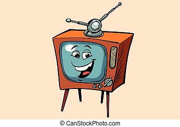 retro TV cute smiley face character