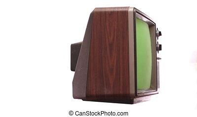 Retro TV Greenscreen Turning Fast