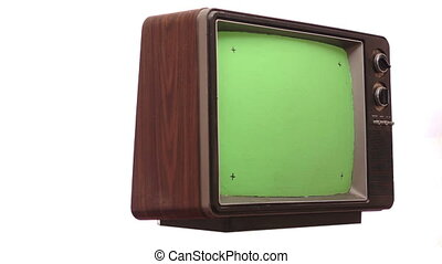 Retro TV Greenscreen Turning Slow