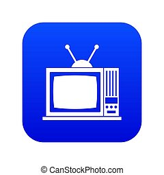 Retro TV icon digital blue