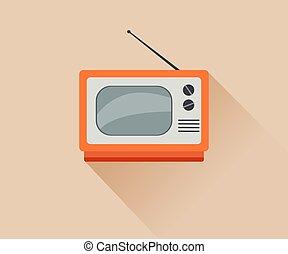 Retro TV icon . Flat illustration.