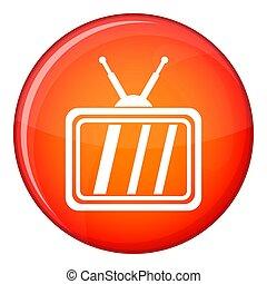 Retro TV icon, flat style
