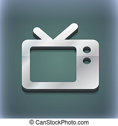 Retro TV icon symbol. 3D style. Trendy, modern design with space for your text . Raster
