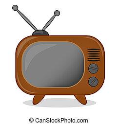 Retro TV icon, vector
