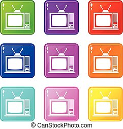 Retro TV icons 9 set