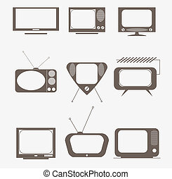 retro tv icons set