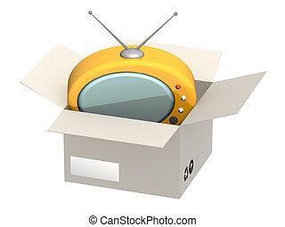 Retro TV in open box