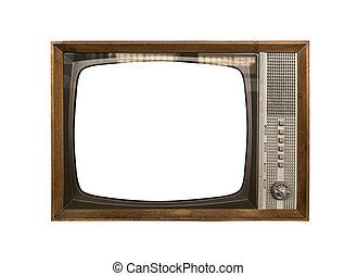 retro, tv, isolado, branco, experiência.