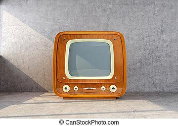 retro tv lit by the sun