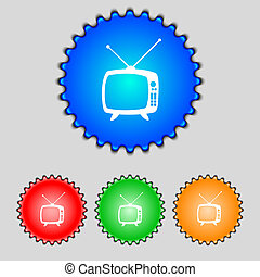 Retro TV mode sign icon. Television set symbol. Set colourful buttons. Hand cursor pointer