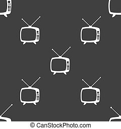 Retro TV mode sign icon. Television set symbol. Seamless pattern on a gray background.
