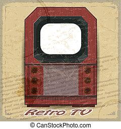 Retro TV on a vintage background