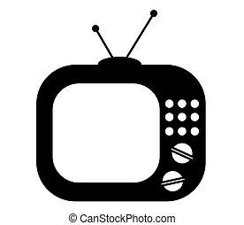 Retro tv set on a white background. Icon.