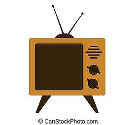 Retro tv set on a white background.