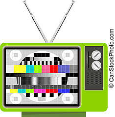 Illustration of a green retro TV set on test pattern with antennas isolated on white background