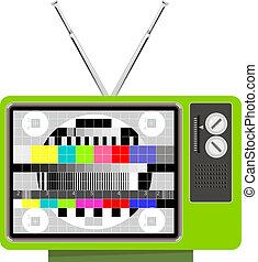 Retro TV set test pattern - Illustration of a green retro TV...