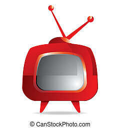 retro TV set - vector illustration of Stylized red retro TV