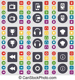 Retro TV, SMS, Speaker, Cup, Headphones, Cooking hat, Rewind, Gear, Information icon symbol. A large set of flat, colored buttons for your design. Vector