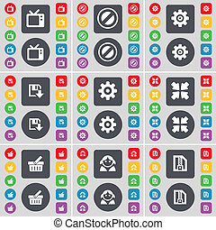 Retro TV, Stop, Gear, Floppy, Deploying screen, Basket, Avatar, ZIP file icon symbol. A large set of flat, colored buttons for your design.