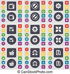 Retro TV, Stop, Gear, Floppy, Deploying screen, Basket, Avatar, ZIP file icon symbol. A large set of flat, colored buttons for your design. Vector