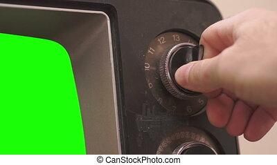 Retro TV Tuning Dial Turning Green
