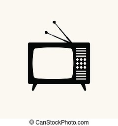 Retro tv vector black icon