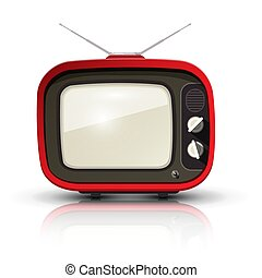 Retro TV. Vector Vintage Realistic Television Isolated on White Background.