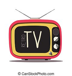 Retro TV. Vector Vintage Television Isolated on White Background.