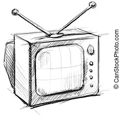 Retro tv with antenna