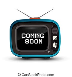 Retro TV with Coming Soon Title on Screen. Vector.