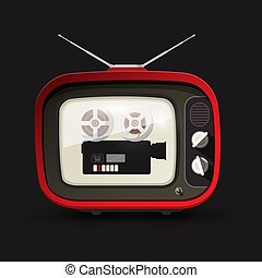 Retro TV with Movie Film Camera. Retro Vector Devices.