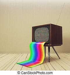 Retro TV with rainbow tongue