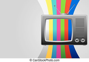 Retro TV with test image background