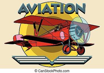 Retro two-winged plane aviation poster pop art retro style....