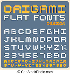Retro type font, vintage typography . - Origami Flat type...
