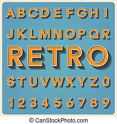 Retro type font, vintage typography . - Retro type font,...