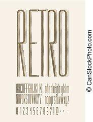 Retro type font, vintage typography.