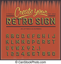 Retro type font, vintage typography, vector Eps10 illustration.