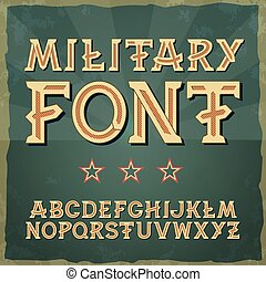 Retro type font, vintage typography. Vintage alphabet vector font for labels, titles, posters. 1941-1945.