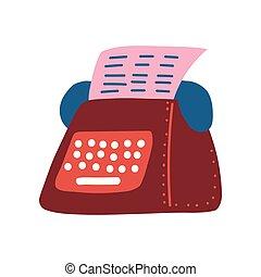 Retro Typewriter and Pink Blank Paper Sheet Vector Illustration