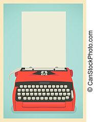 Retro typewriter background - Mid century illustration with...