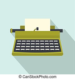 Retro typewriter icon, flat style - Retro typewriter icon....