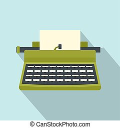 Retro typewriter icon, flat style